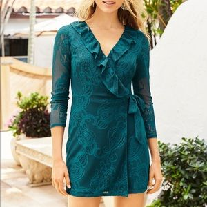 Lilly Pulitzer Tiki Wrap Ruffle Romper Blue Lace